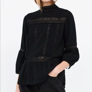 Black Zara Blouse with Lace Inserts - size L